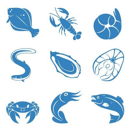 Seafood icon set.