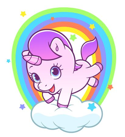 Cute unicorn and rainbow