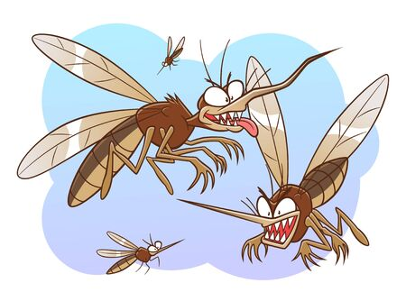 Group of mosquitoes illustration Illustration