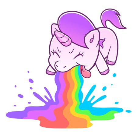 Unicorn retching rainbow