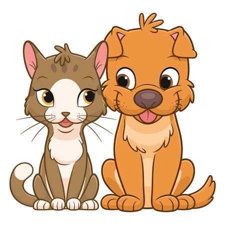 Cute cat and dog friends
