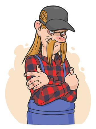 Redneck cartoon illustration.
