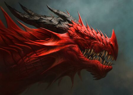Red dragon head digital painting.