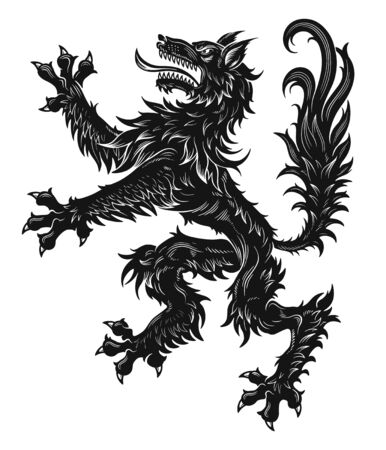 Heraldic wolf black Stock Illustratie