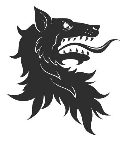 Cabeza de lobo heráldico con la boca abierta sobre fondo blanco.
