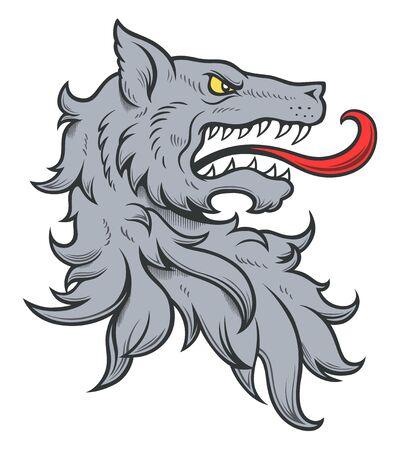 Cabeza de lobo heráldica coloreada Ilustración de vector