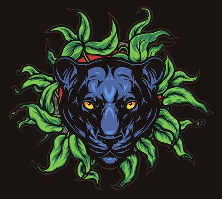 Panther and leaves illustration 向量圖像