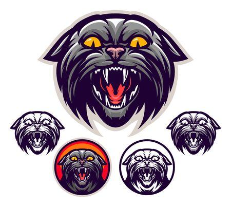 Wild angry cat emblem