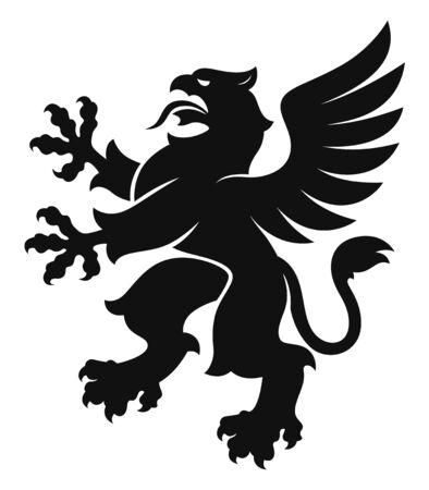 Grifo heráldico simple negro Ilustración de vector