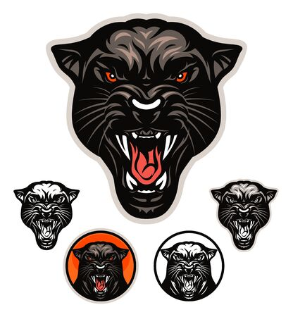 Angry panther head emblem on white 向量圖像