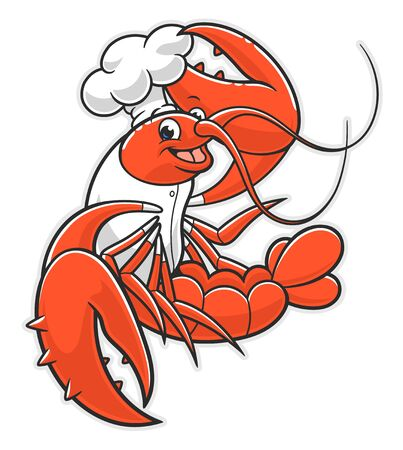 Cartoon lobster cook Ilustracja