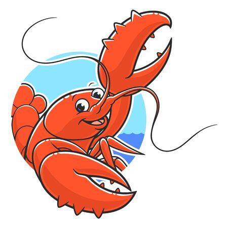 Lobster in circle background
