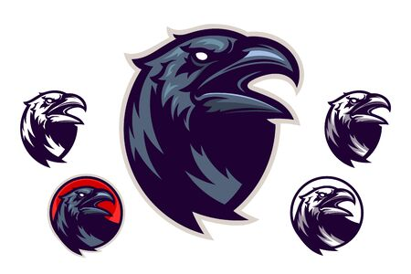Screaming raven head emblem with four variations.