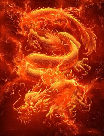 Fire Asian dragon on the dark background. Digital painting. Stock Photo