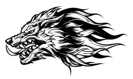 Wütender Wolfskopf schwarz-weiß Vektorgrafik