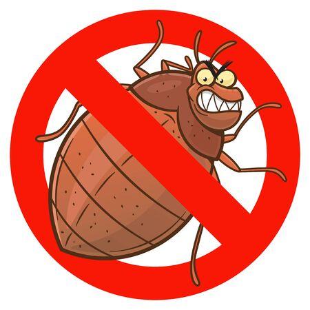 Anti bedbug cartoon sign