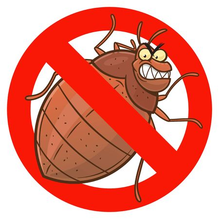 Anti bedbug cartoon sign Vectores