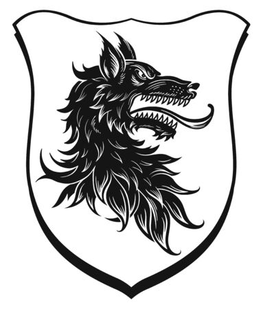Black head of heraldic wolf