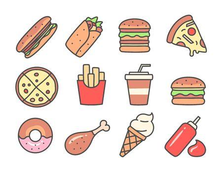 Fast food icons set Ilustrace
