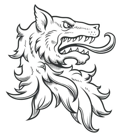 Heraldic wolf head ink drawing Vecteurs
