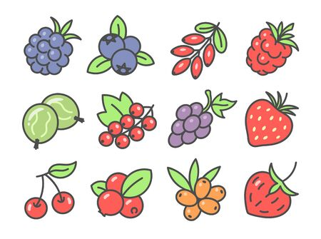 Berries cute icon set