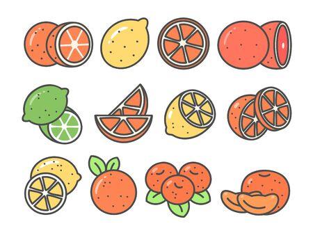 Citrus cute icon set Ilustrace