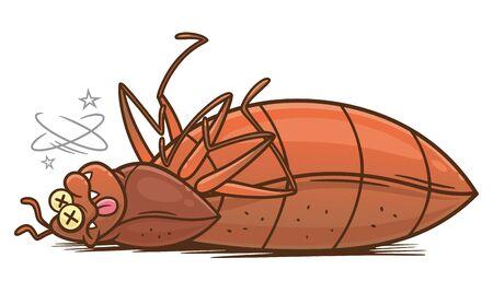 Dead cartoon bedbug Vettoriali