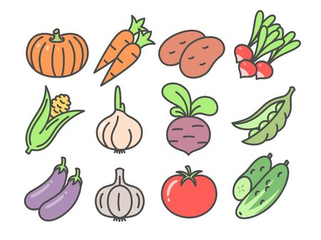 Vegetables cute icon set