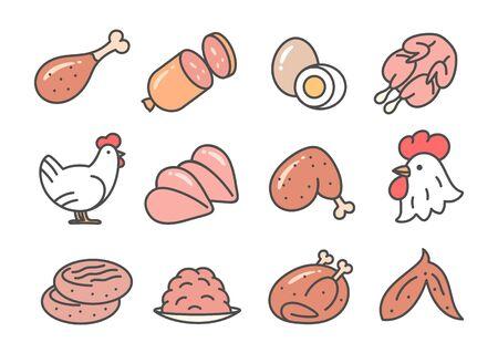 Chicken foods cartoon icon set