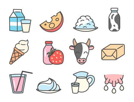 Milk foods cartoon icon set