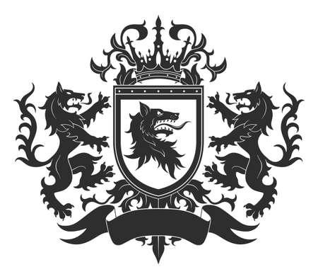 Coat of arms with wolves Vektorgrafik