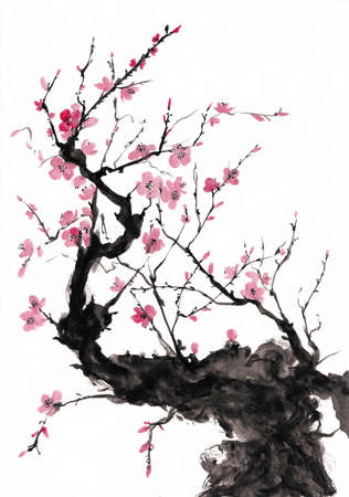 Plum branch japanese style ink painting