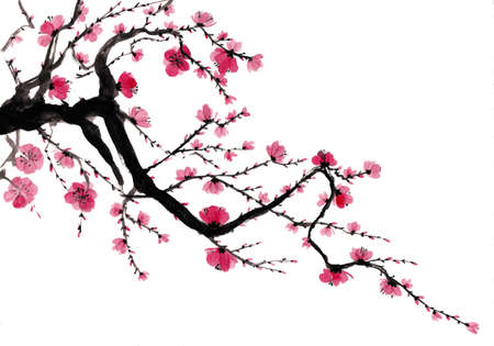 Japanese style blooming tree branch painting
