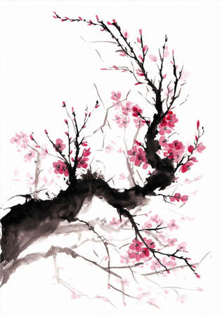 Blooming branch japanese style painting