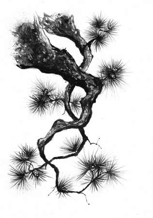 Sumi-e style pine branch black ink painting.