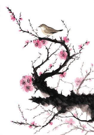 Plum and nightingale japanese style ink painting Standard-Bild