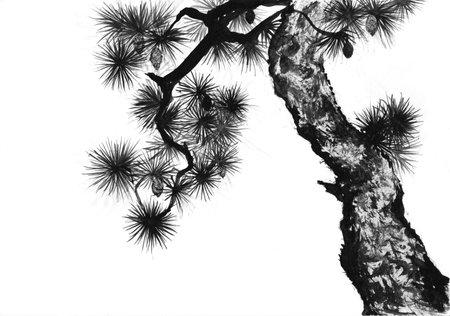 Pine sumi-e painting