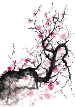 Blooming plum branch japanese ink painting
