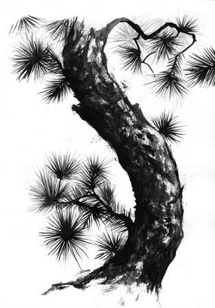 Sumi-e style pine tree and branches black ink painting. Standard-Bild