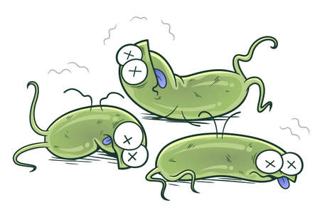 Defeated bacteria cartoon illustration