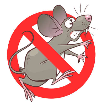 Anti rodent sign with a funny cartoon mouse. Cartoon pest mouse series.