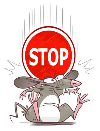 Heavy stop sign fell down on mouse. Cartoon pest mouse series. Illustration