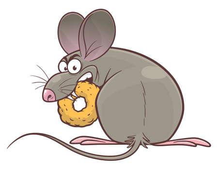 Pest mouse eating snack vector illustration. Cartoon pest mouse series. Illustration