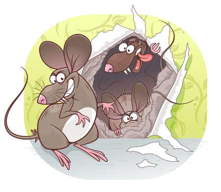 Cartoon mice pest vector illustration. Cartoon pest mouse series.