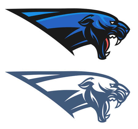 Panther head vector emblem colored and monochrome.