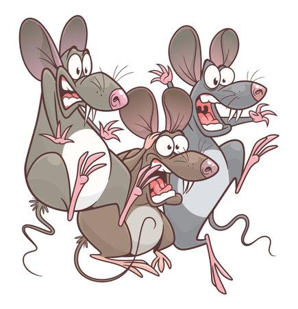 Scared pest mice cartoon vector illustration. Cartoon pest mouse series. Illustration