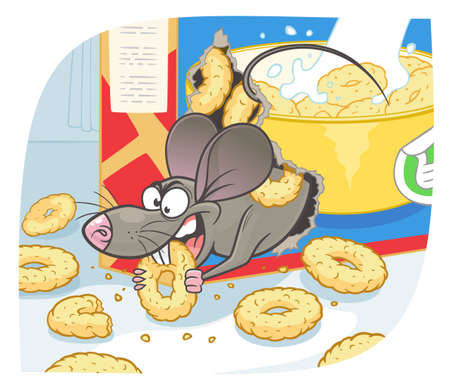 Pest mouse gnawed a box of morning snack vector illustration. Cartoon pest mouse series.