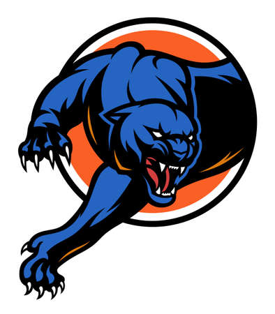 Stylized panther on circle background. Vector emblem.