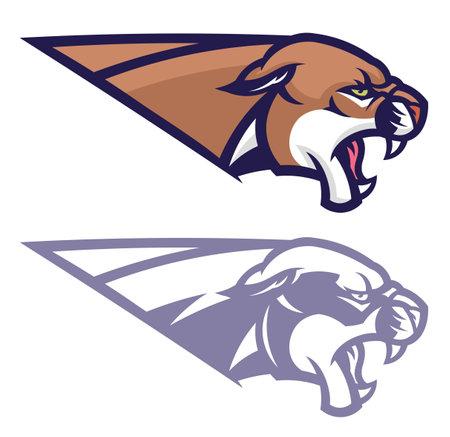 Angry cougar head horizontal emblem Illustration