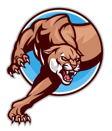 Cougar emblem in circle Illustration